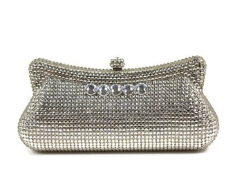 Swarovski Crystal Clutch, Bridal Clutch, Silver Minaudiere, Wedding Purse, Evening Bag, Austrian Crystal Clutch, Luxury Clutch