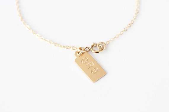 Custom Hand Stamped Bracelet - Mini GOLD Initial Tags -14k Gold Filled or Sterling Silver