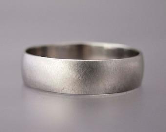 Mens Platinum Wedding Band - 6mm Wide Half Round Unisex Ring in Solid Platinum