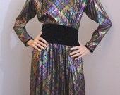 SC Vintage 1960s Victoria Royal Ltd Evening Dress / 1960s Iridescent Metallic Plaid Full Length Dress Gown Medium Large