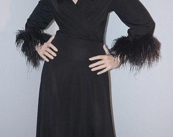 Vintage 60s 70s LILLI DIAMOND Designer Dress with Ostrich Feather Trim / 1970s Black Jersey Evening Gown with Plunging Neckline Medium Large