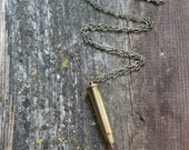 Rustic Peach Crystal Point Bullet Casing Necklace