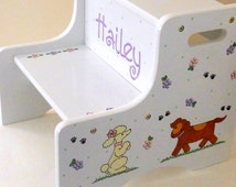 Large Personalized Two Step Stool for Children Doggies Design