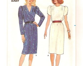 Fast & Easy Dress Pattern -Vintage 80s Butterick 6601 -Long or Short Tulip Sleeves, Round or V Neck, Straight Skirt -Size 12 UNCUT