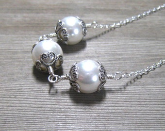Three Pearl Necklace, Sterling Silver, Sea Shell Pearls, June Birthstone Jewelry, Wedding Jewelry, White Pearl Necklace, Triple Pearl