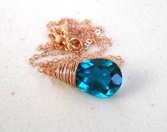 Paraiba Blue Necklace,  Rose Gold Wire Wrapped,  Quartz Pear Briolette, Teal Stone Pendant