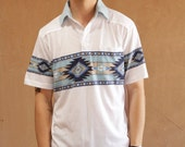 NATIVE AMERICAN 80s short sleeve SOUTHWEST polo shirt