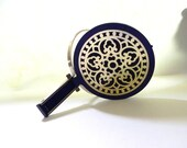 Vintage Mirror Art Deco Nouveau style Purple Hand Mirror - on sale
