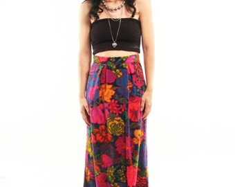 CASSIE 70s Bright Retro Groovy Velvety Handmade Floral High Waisted Prairie Maxi Skirt Small