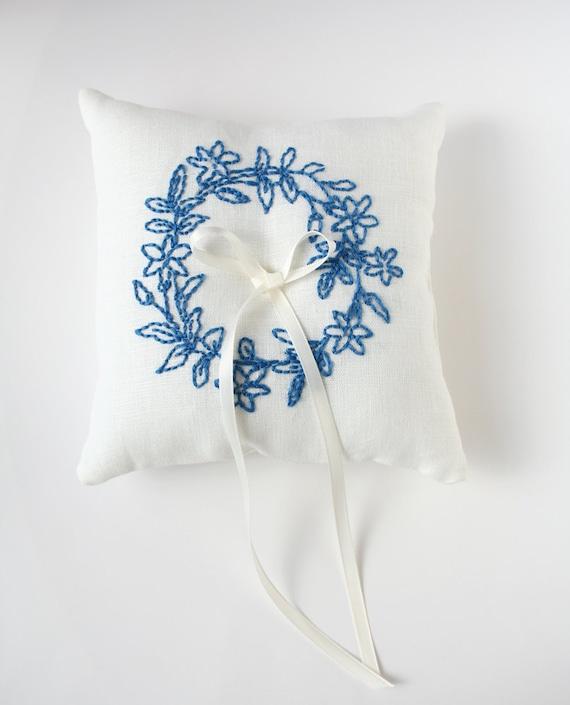 Ring of Flowers, Ring Bearer Pillow, Embroidered Pillow, Custom