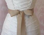 Oatmeal Grosgrain Ribbon, 1.5 Inch Wde, Pale champagne Ribbon Sash, Tan Bridal Sash, Wedding Belt, 4 Yards
