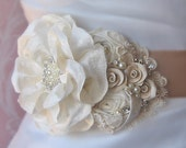 Champagne and Ivory Bridal Sash, Wedding Belt, Flower Sash, Rhinestone ad Pearl - EMILY