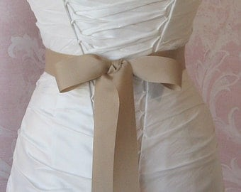 Oatmeal Grosgrain Ribbon, 1.5 Inch Wde, Pale champagne Ribbon Sash, Tan Bridal Sash, Wedding Belt, 4 Yards