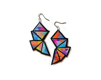 Triangle Earrings, Ombre Geometric Earrings, Leather Earrings, Bold Dangle Earrings, Neon Faceted Geometric Jewelry