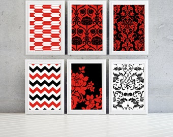 Beautiful black white and red modern wall print with custom text option- 8x10 -Set of 6