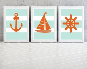Nursery Art Ocean Sea boat anchor- More colors available Set of  (3) Blue Orange