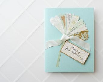 Mother's Day Card - ginkgo leaf, robin's egg blue, pastel, handmade card, original design - select your interior message