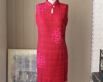 Hilo Hattie Dress Rayon Dress Bali Dress Cheongsam Dress Fuschia Batik Dress Tropical Dress Fitted Dress Short Dress Pink Dress Floral Dress