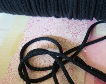 "144 yards 1/4"" width ( 6 mm ) black cotton cord black cotton cord"