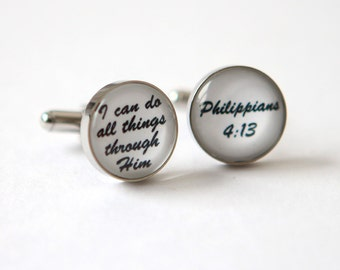 Religious cuff links for him, Bible Verse Cufflinks Custom Cuff links bible verse jewelry for men bible scripture cufflinks Custom Quote