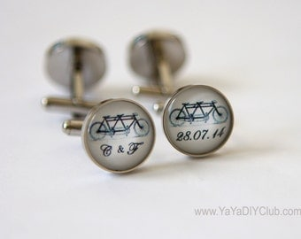 Tandem Bike Wedding Gift for Groom Gift from Bride, Tandem Bike Cufflinks with Custom Initials wedding date