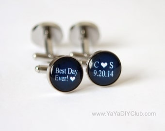 Best Day Ever Wedding Gift for Groom Cufflinks Custom, Navy Blue Wedding Gift for Groom, Personalized Groomsman gifts STAINLESS STEEL