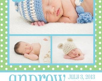 Birth Announcement - Newborn - Multiple Picture - Customizable - Polka Dots