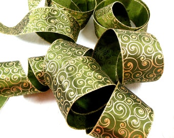 Forest Green and Gold Christmas Ribbon - Wire Edge, Wide Width, Opulent, Spiral Design