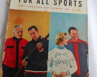 For Vintage Knitting Enthusiasts, 1958 Knitting Patterns for Men and Women, Hand Knits or Pages to Frame