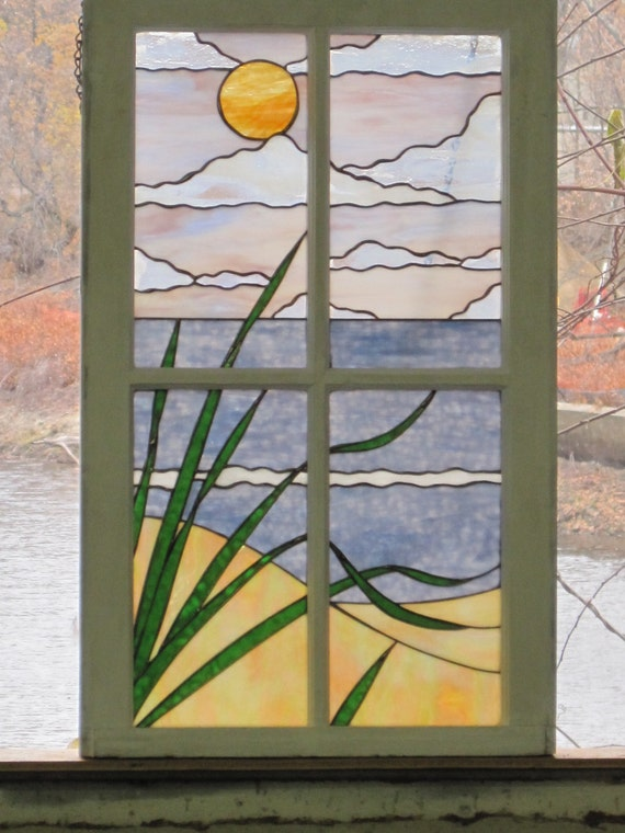 Items Similar To Stained Glass Beach Scene In Shabby Chic