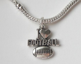 I Love Football - Silver Charm - Sports Charm - Necklace Pendant Charm - Football Lovers Keychain Findings - 15 Pcs - Metal Jewelry Supplies