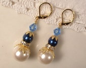 Navy Blue & Ivory Pearl Gold Earrings, Sapphire Crystal Clear Rhinestone Bridal Bridesmaid Dangle Earrings Jewelry Wedding Gifts Vintage Set