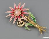 Vintage Large Enamel Flower Brooch Gold Tone w Rhinestone Accents