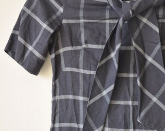 Vintage 1950's Shades of Grey Plaid School Girl/Teen Dress extra small