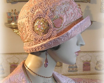 Antique Style 1920s Gatsby Flapper Downton Abbey Cloche Silk Hat - Pink Lace Silk Brocade Vintage Beaded Jeweled Hand Embroidery