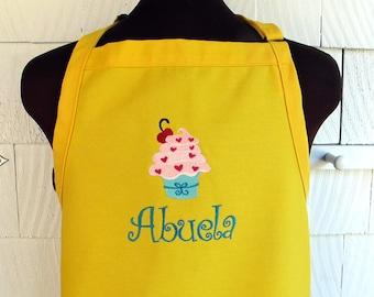 Personalized Cupcake Apron - Monogrammed Apron - Cupcake apron for Woman - Yellow Apron