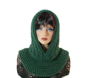 Forest Green Scarf, Men Scarf, Fishermans Hood, Hunter Green, Medieval, Women Scarf, Snood, Dark Green, Winter Accessories, Winter Fashion