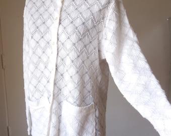 SALE...Vintage 60s White Cardigan Sweater, Lace, Sheer, Knit, Crochet, Medium