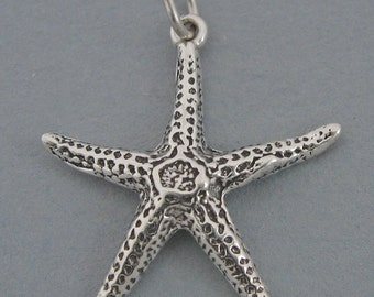Sterling Silver Charm Pendant STAR FISH Starfish Nautical Ocean Beach sc299