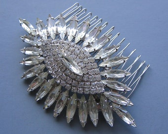 Stunning Crystal Bridal Comb -  Repurposed Vintage Hair Accessory