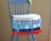 High Chair Birthday Banner - summer circles in white, blues, and red