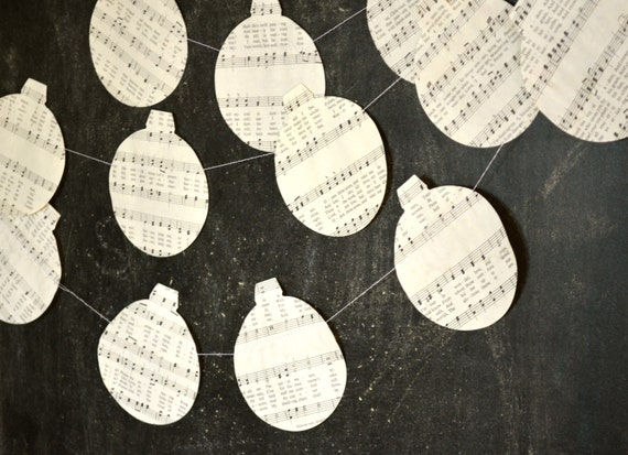 Music Christmas Ornament Garland, made from vintage music paper