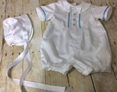 CHRISTENING SUIT Baby boy romper with blue accent