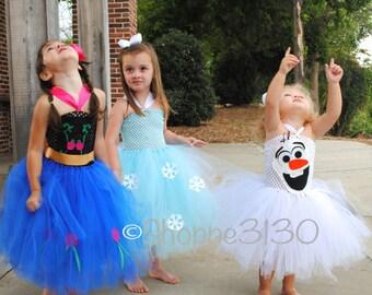 Anna Frozen Inspired Tutu Anna Elsa Olaf Inspired Tutu Costume Dress for Dress Up or Halloween or Birthday Dress