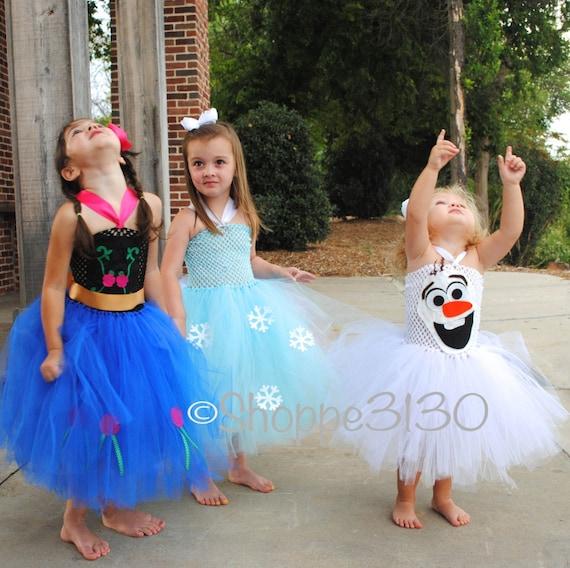 Halloween Child Costume Princess Dressup Set Disney: Anna Frozen Inspired Tutu Anna Elsa Olaf Inspired Tutu Costume
