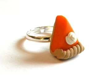 Pumpkin Pie Adjustable Ring- Thanksgiving Holiday Fall Jewelry - Polymer Clay Food - Adjustable - Gifts Under 10, 15, 20, 25