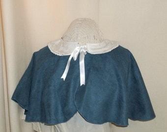 Blue Capelet- Suede Costume Cape