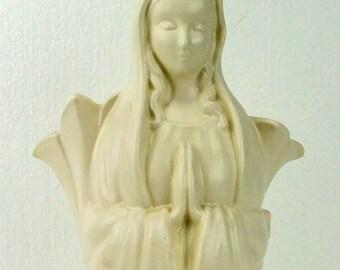 Retro Vintage Royal Haeger Holy Mother Virgin Mary Madonna Praying Creamy Mat Glaze White Pottery Ladies Head Vase  Planter TNTeam ATCTTEAM
