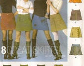 Misses Skirt, Mini, Short, Above the Knee Skirt Sewing Pattern, 8 Variations, Low Waist, Sizes 4 6 8 10, UNCUT Simplicity 5304