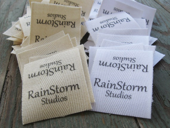 Twill Fabric Labels, one and one-half inch ribbon - cut and fray-checked - natural or white